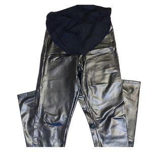 Asos black vegan leather maternity leggings